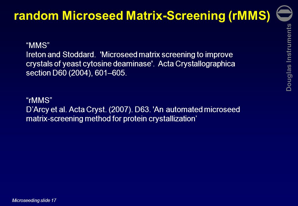 Douglas Instruments Microseeding slide 17 random Microseed Matrix-Screening (rMMS) MMS Ireton and Stoddard.