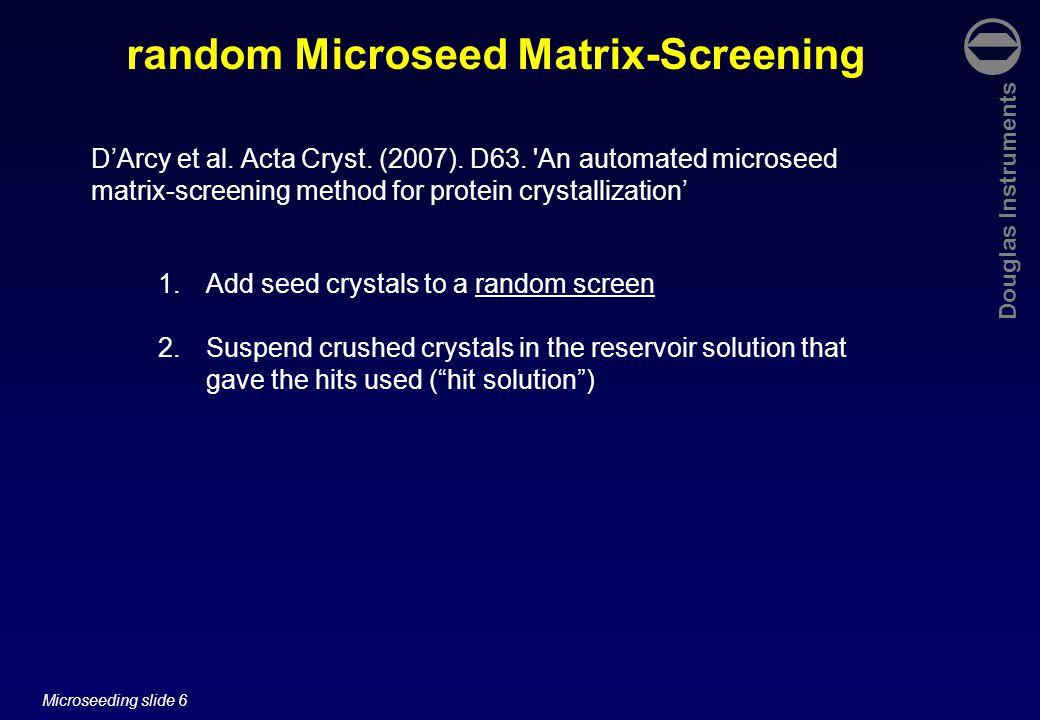 Douglas Instruments Microseeding slide 57 (a)(b)(c) Preseeding the protein