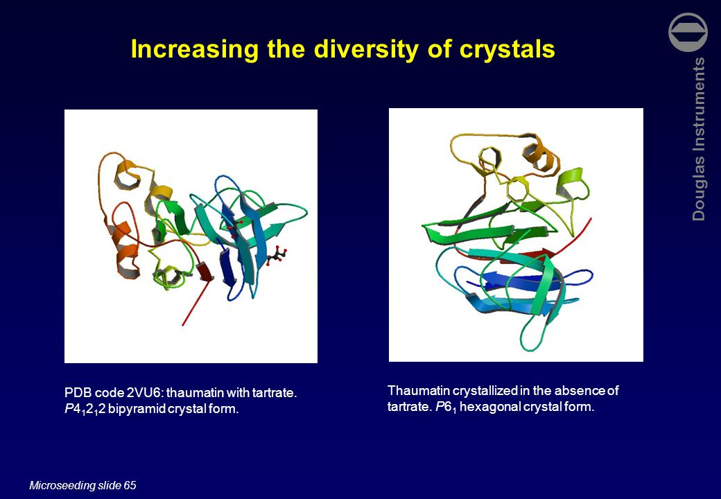 Douglas Instruments Microseeding slide 65 Increasing the diversity of crystals PDB code 2VU6: thaumatin with tartrate.