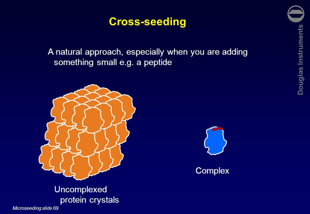 Douglas Instruments Microseeding slide 69 Cross-seeding A natural approach, especially when you are adding something small e.g.