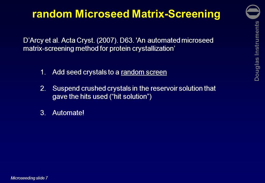 Douglas Instruments Microseeding slide 8 random Microseed Matrix-Screening To get: D'Arcy et al.