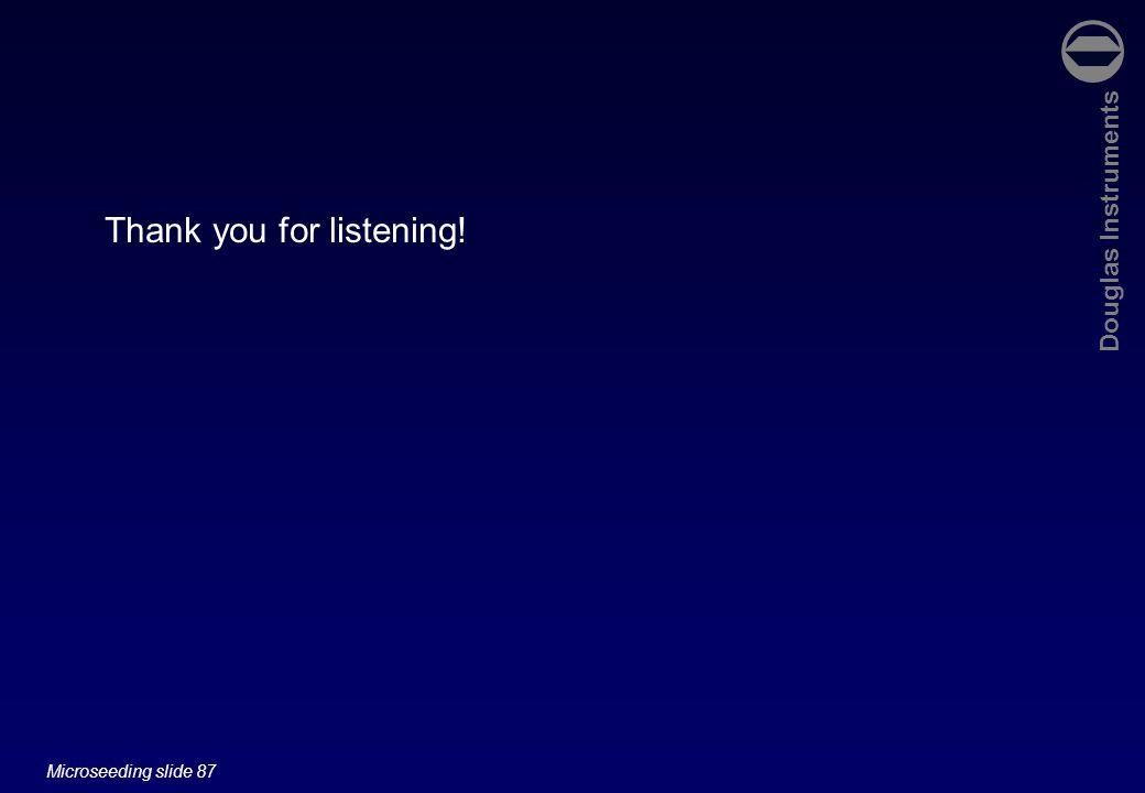 Douglas Instruments Microseeding slide 87 Thank you for listening!