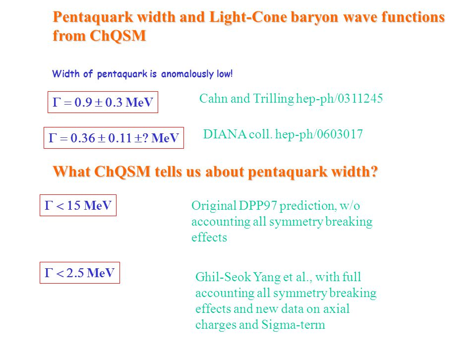Pentaquark width and Light-Cone baryon wave functions from ChQSM Width of pentaquark is anomalously low! Cahn and Trilling hep-ph/0311245 
