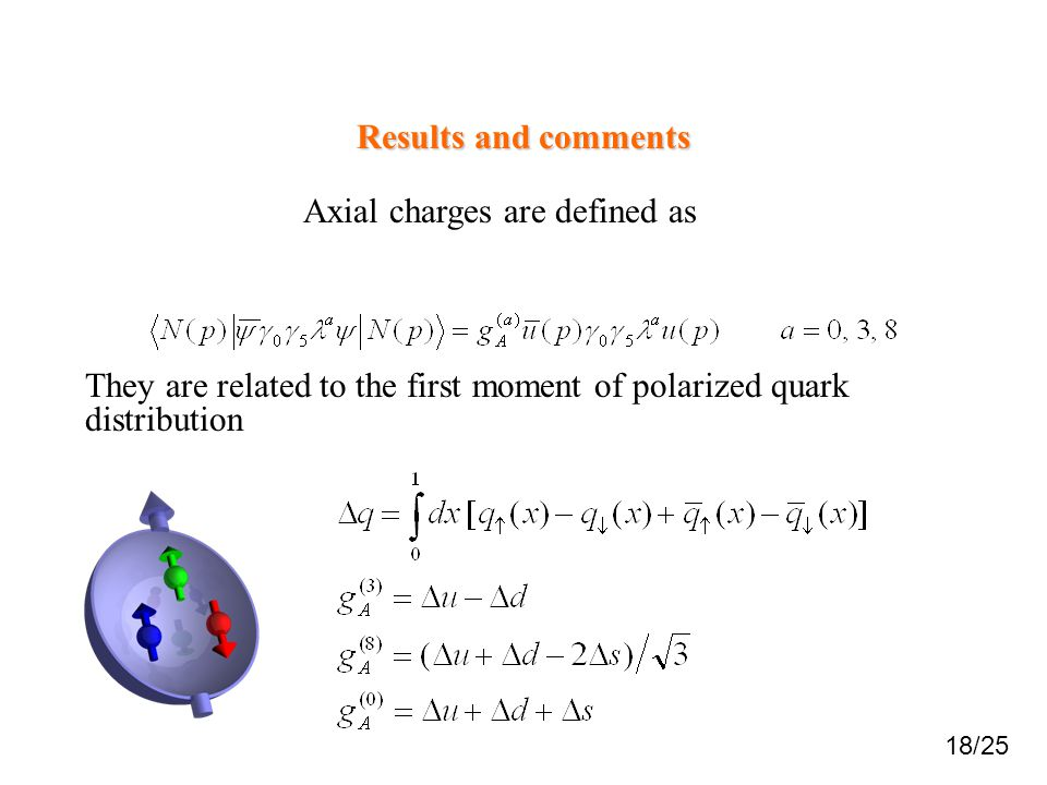 Axial charges are defined as Results and comments 18/25 They are related to the first moment of polarized quark distribution