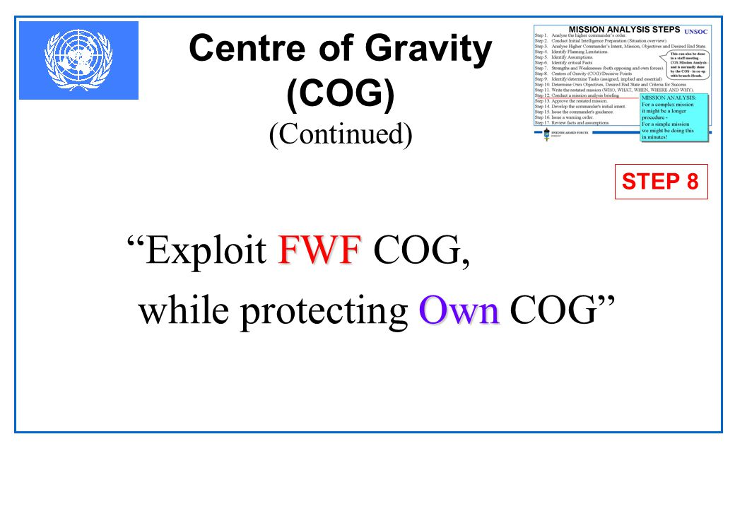 Centre of Gravity (COG) (Continued) COG freedom ofaction physical strengthwill to fight  The COG is that characteristic, capability, locality, from w