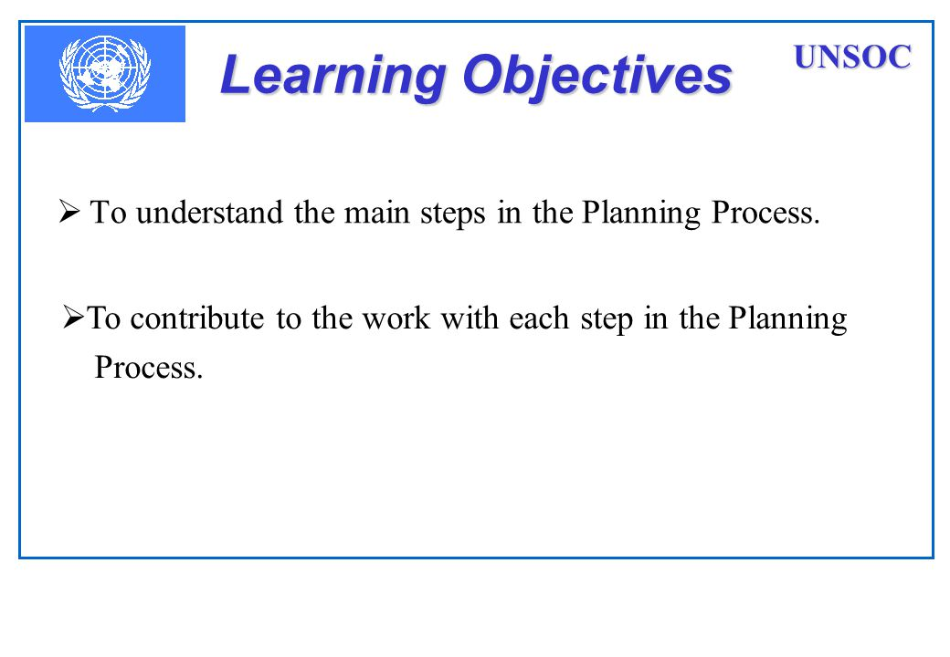 Learning Objectives  To understand the main steps in the Planning Process.