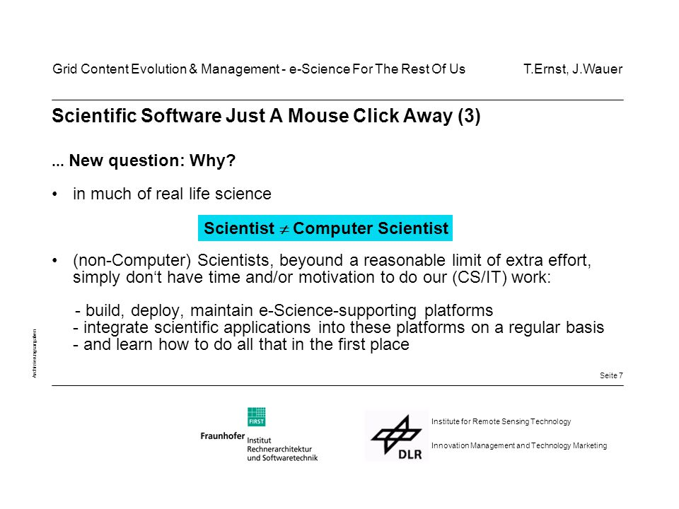 Seite 8 Archivierungsangaben Institute for Remote Sensing Technology Innovation Management and Technology Marketing How did the Web succeed as a publishing medium.