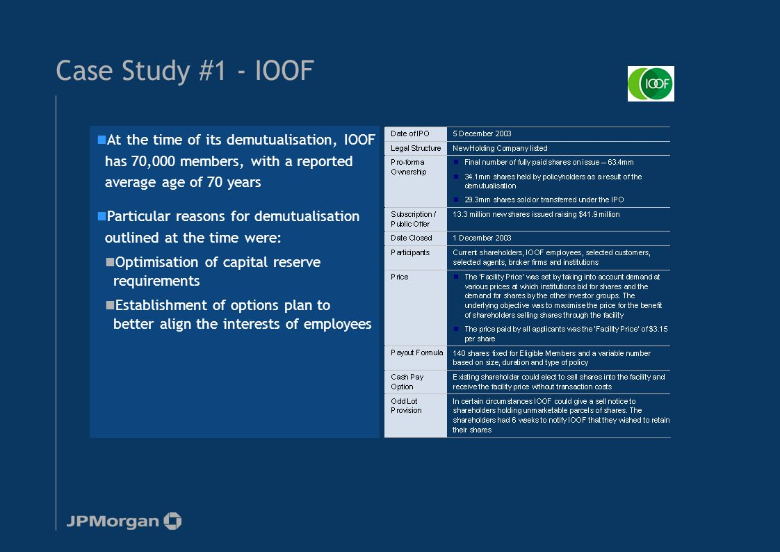Case Study #1 - IOOF At the time of its demutualisation, IOOF has 70,000 members, with a reported average age of 70 years Particular reasons for demut