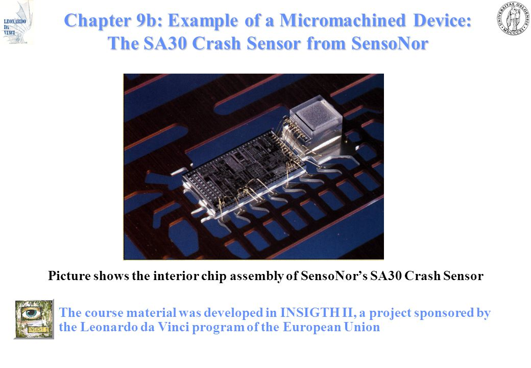 Chapter 9b: Example of a Micromachined Device: The SA30 Crash Sensor from SensoNor Picture shows the interior chip assembly of SensoNor's SA30 Crash S