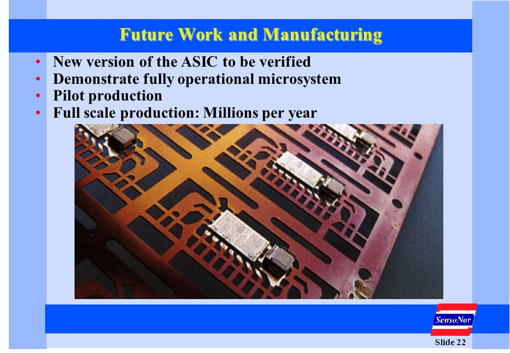 Slide 22 Future Work and Manufacturing New version of the ASIC to be verified Demonstrate fully operational microsystem Pilot production Full scale pr