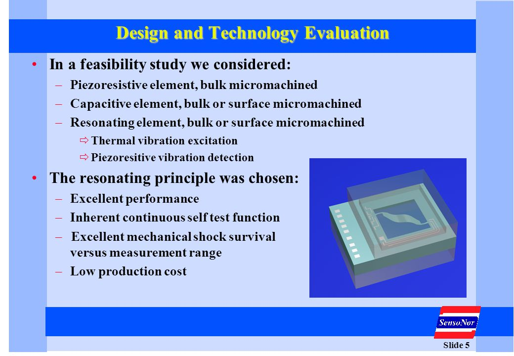 Slide 5 Design and Technology Evaluation In a feasibility study we considered: –Piezoresistive element, bulk micromachined –Capacitive element, bulk o
