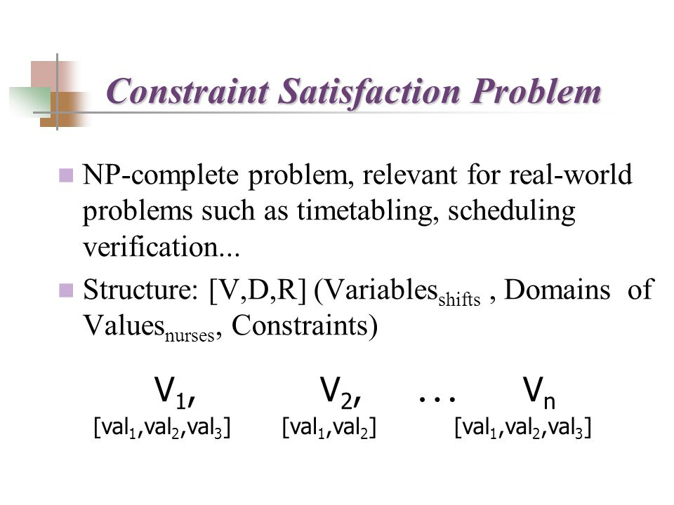 NP-complete problem, relevant for real-world problems such as timetabling, scheduling verification...