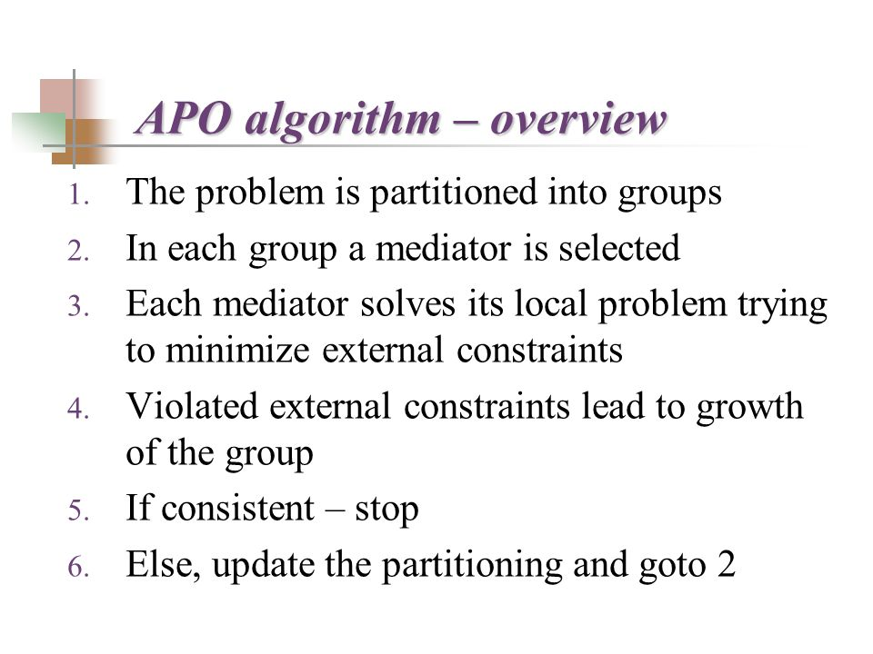 APO algorithm – overview 1. The problem is partitioned into groups 2.