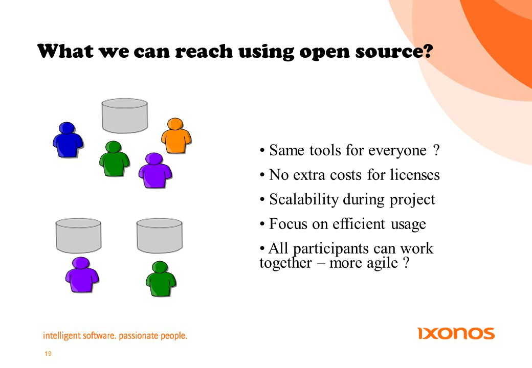 19 What we can reach using open source. Same tools for everyone .