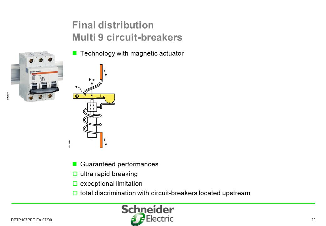 DBTP107PRE-En-07/00 34 Masterpact  total discrimination with Compact NS (<630 A) circuit-breakers located downstream Compact NS  total discrimination as soon as the ratio between ratings is greater than 2.5 Note: it is necessary to conserve current and time threshold staging The Schneider solution ensures total natural discrimination from 1 to 6300 A Schneider discrimination rules