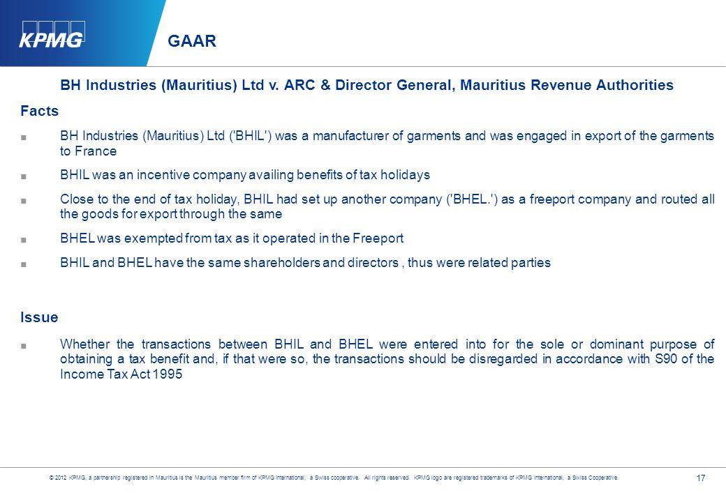 17 GAAR BH Industries (Mauritius) Ltd v.
