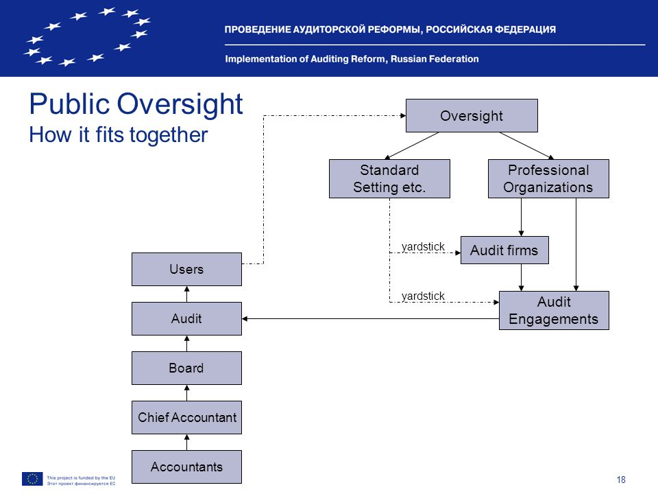18 Public Oversight How it fits together Accountants Chief Accountant Board Audit Users Oversight Standard Setting etc. Professional Organizations Aud