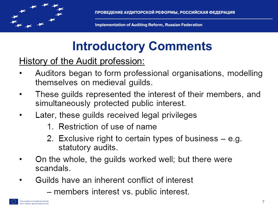 7 Introductory Comments History of the Audit profession: Auditors began to form professional organisations, modelling themselves on medieval guilds.