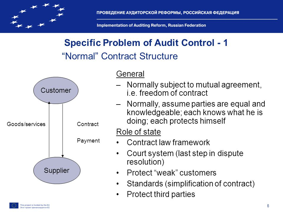8 Specific Problem of Audit Control - 1 Normal Contract Structure Customer Supplier General –Normally subject to mutual agreement, i.e.