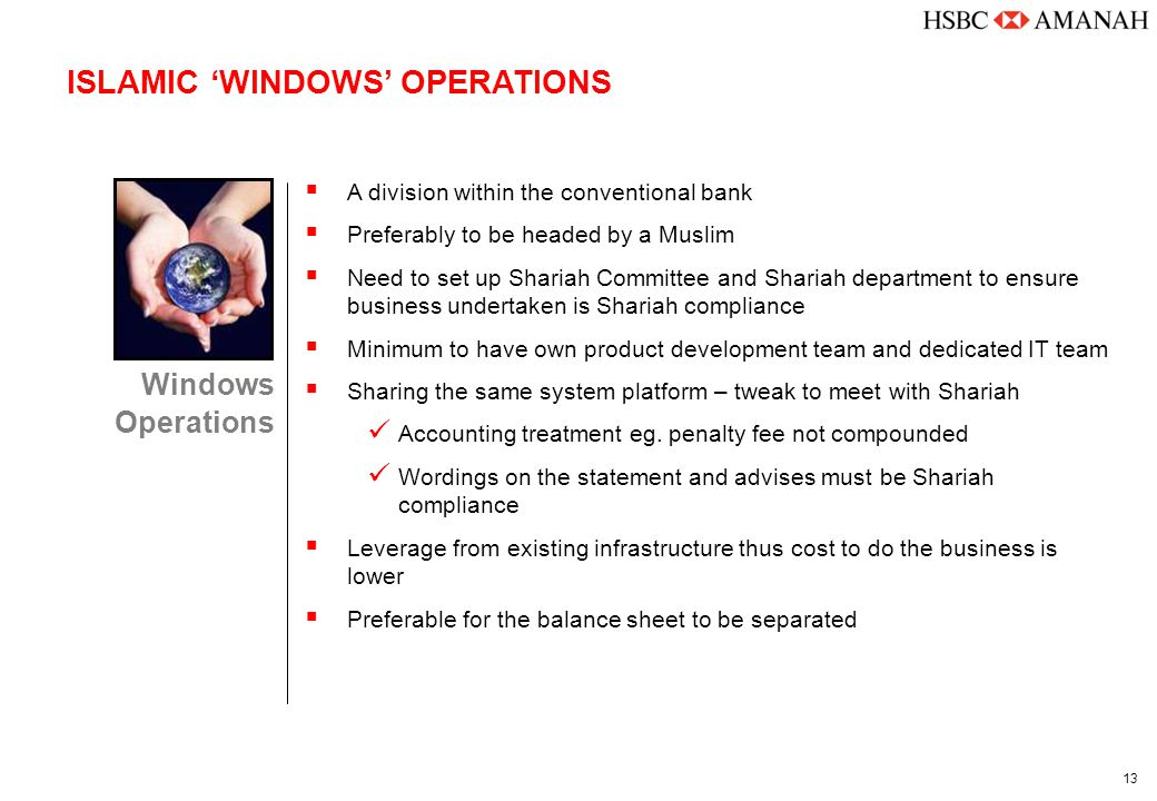 13 ISLAMIC 'WINDOWS' OPERATIONS Windows Operations  A division within the conventional bank  Preferably to be headed by a Muslim  Need to set up Sh