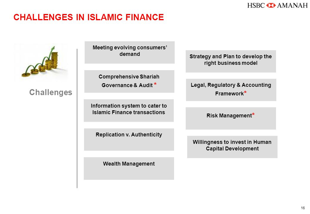 16 CHALLENGES IN ISLAMIC FINANCE Challenges Strategy and Plan to develop the right business model Willingness to invest in Human Capital Development Information system to cater to Islamic Finance transactions Replication v.