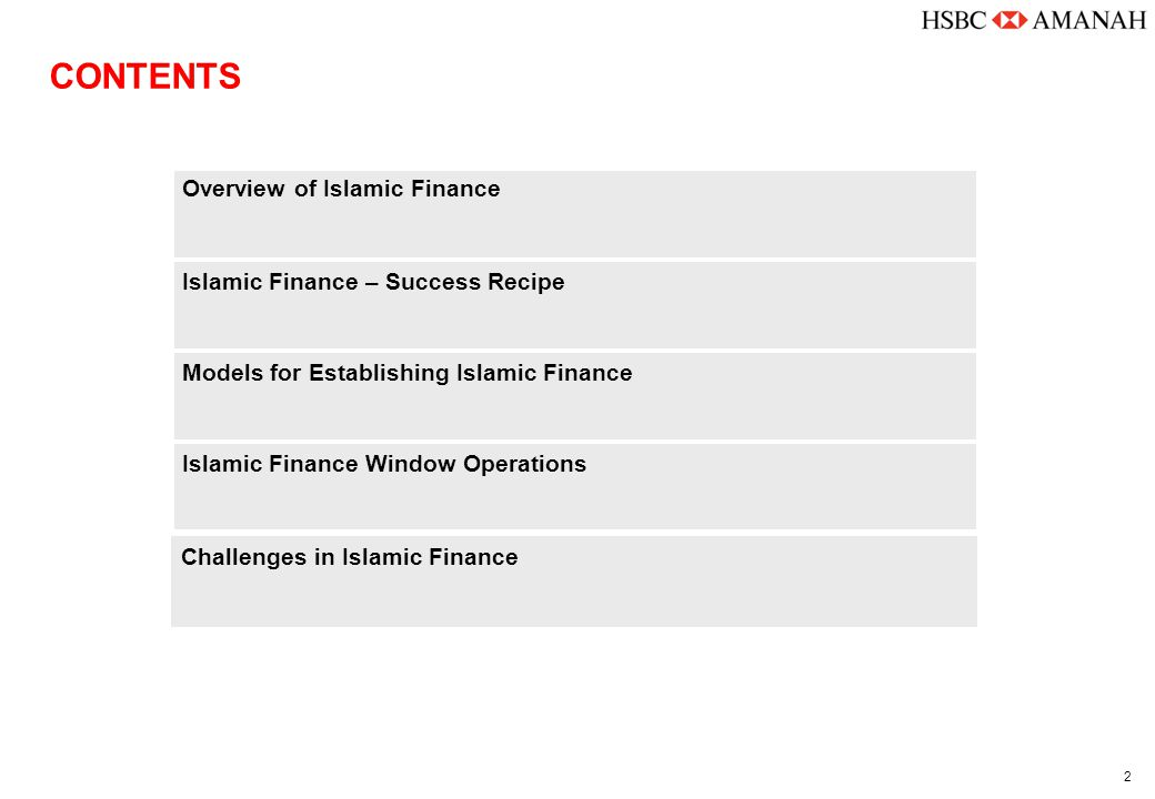2 Islamic Finance Window Operations Models for Establishing Islamic Finance Islamic Finance – Success Recipe Overview of Islamic Finance CONTENTS Chal