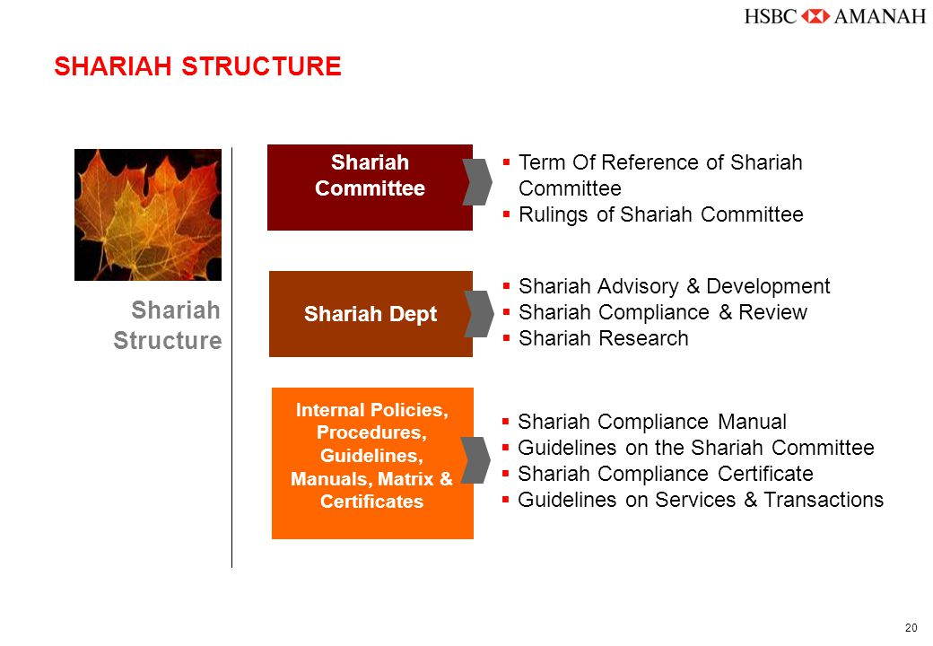 20 SHARIAH STRUCTURE Shariah Committee Shariah Dept Internal Policies, Procedures, Guidelines, Manuals, Matrix & Certificates Shariah Structure  Term Of Reference of Shariah Committee  Rulings of Shariah Committee  Shariah Advisory & Development  Shariah Compliance & Review  Shariah Research  Shariah Compliance Manual  Guidelines on the Shariah Committee  Shariah Compliance Certificate  Guidelines on Services & Transactions