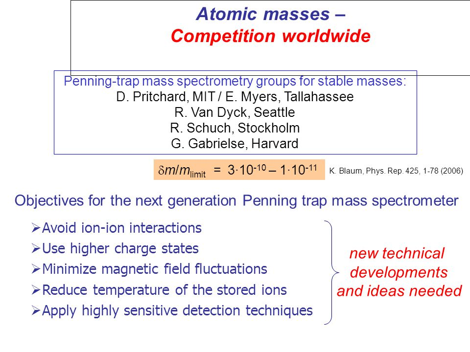 Atomic masses – Competition worldwide K. Blaum, Phys.