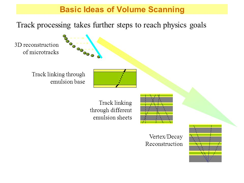 Basic Ideas of Volume Scanning 3D reconstruction of microtracks Track linking through emulsion base Track linking through different emulsion sheets Vertex/Decay Reconstruction Track processing takes further steps to reach physics goals