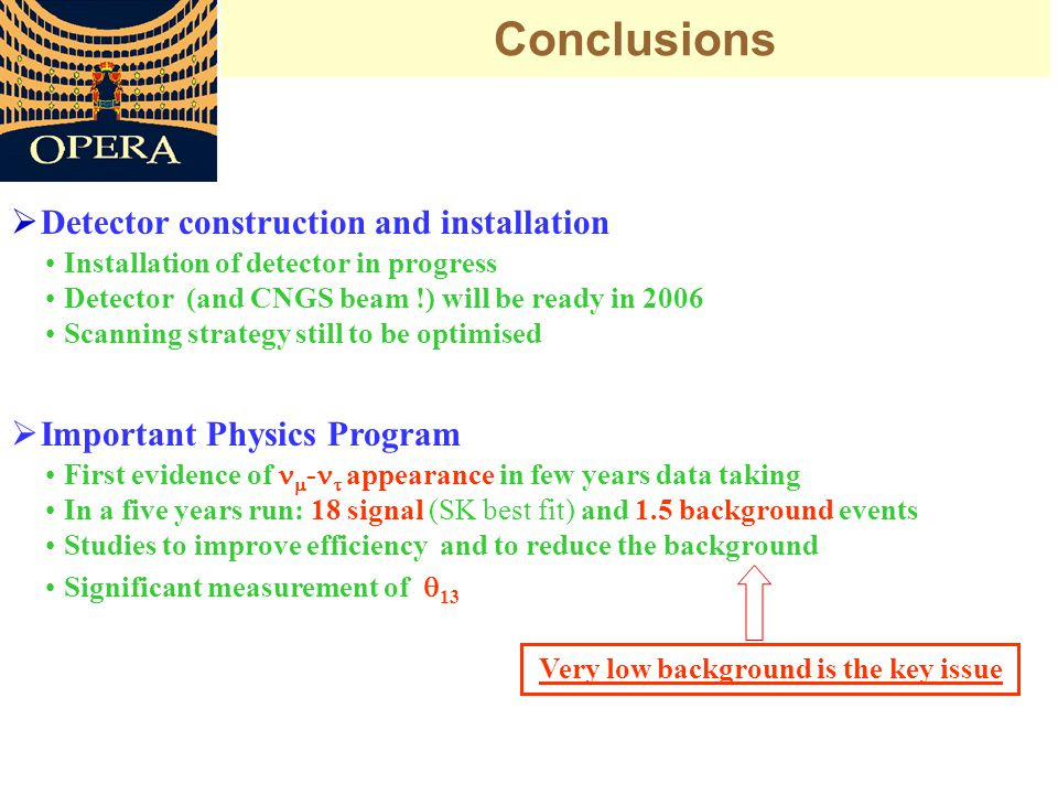 Conclusions  Important Physics Program First evidence of  -  appearance in few years data taking In a five years run: 18 signal (SK best fit) and 1.5 background events Studies to improve efficiency and to reduce the background Significant measurement of  13  Detector construction and installation Installation of detector in progress Detector (and CNGS beam !) will be ready in 2006 Scanning strategy still to be optimised Very low background is the key issue