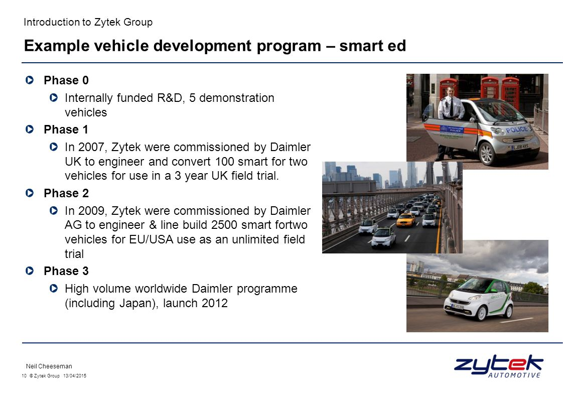 10 © Zytek Group 13/04/2015 Introduction to Zytek Group Phase 0 Internally funded R&D, 5 demonstration vehicles Phase 1 In 2007, Zytek were commission
