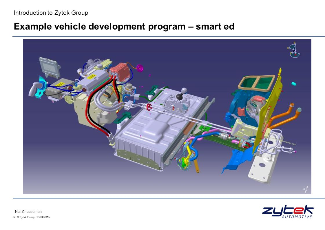 12 © Zytek Group 13/04/2015 Introduction to Zytek Group Neil Cheeseman Example vehicle development program – smart ed