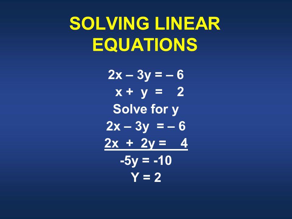 SOLVING LINEAR EQUATIONS 2x – 3y = – 6 x + y = 2 Solve for y 2x – 3y = – 6 2x + 2y = 4 -5y = -10 Y = 2