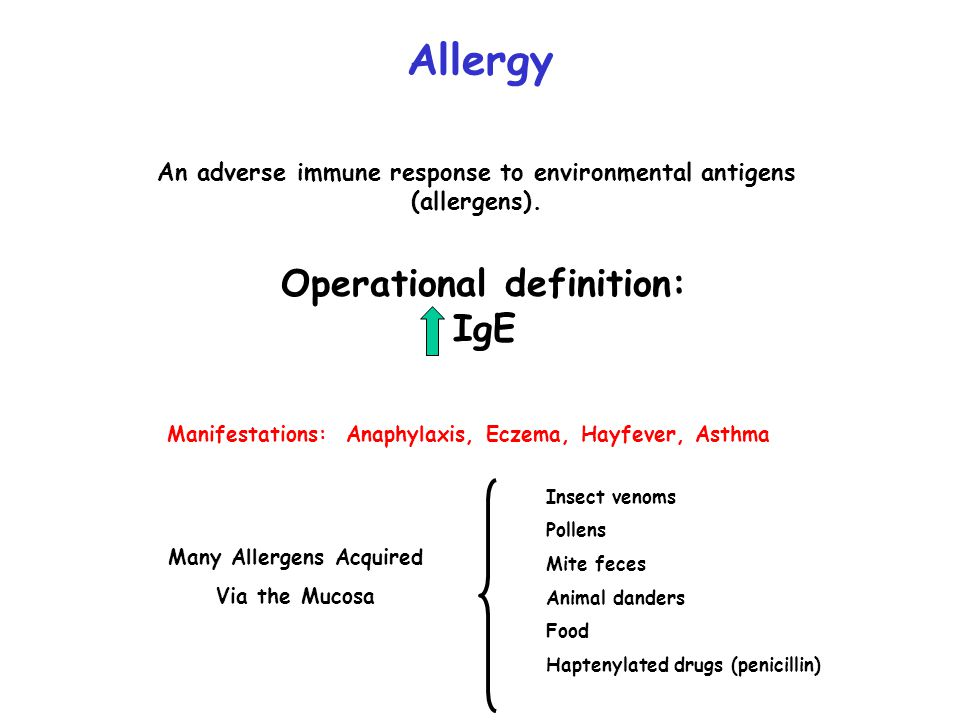 IgE = Reagin or Reaginic Antibodies PCA: Passive Cutaneous Anaphylaxis Atopic to Antigen X Serum (IgE) (Ishizaka, 1966) Non-Atopic  IgE Antigen X Immediate Hypersensitivity
