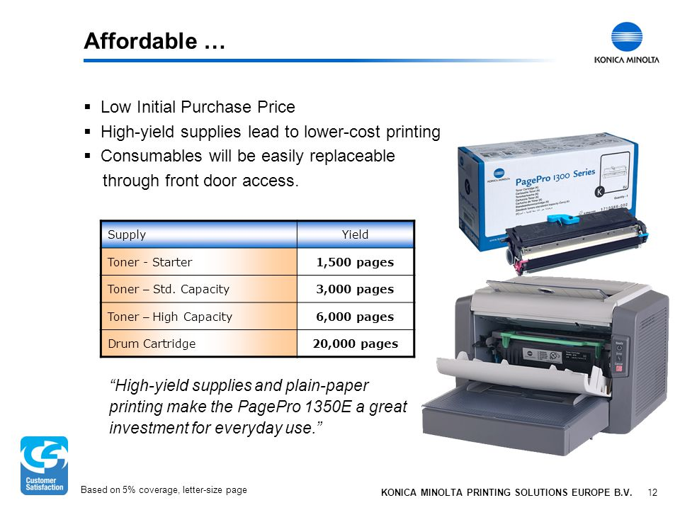 12 KONICA MINOLTA PRINTING SOLUTIONS EUROPE B.V. Affordable …  Low Initial Purchase Price  High-yield supplies lead to lower-cost printing  Consuma