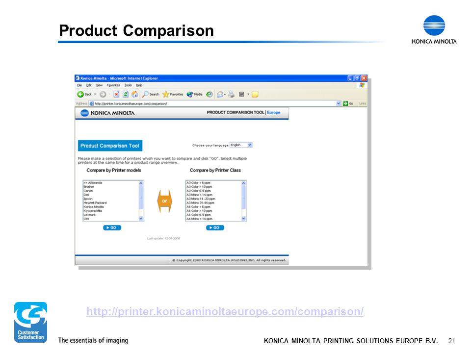 21 KONICA MINOLTA PRINTING SOLUTIONS EUROPE B.V. Product Comparison http://printer.konicaminoltaeurope.com/comparison/