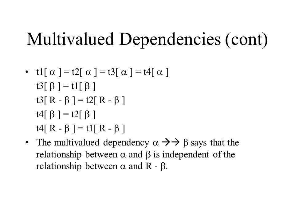 Multivalued Dependencies (cont) t1[ a ] = t2[ a ] = t3[ a ] = t4[ a ] t3[ b ] = t1[ b ] t3[ R - b ] = t2[ R - b ] t4[ b ] = t2[ b ] t4[ R - b ] = t1[