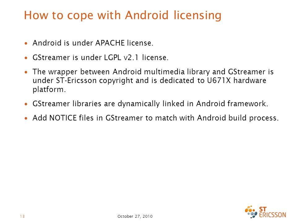 How to cope with Android licensing ∙ Android is under APACHE license.