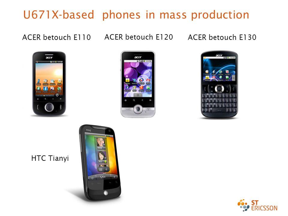Enter date here 15 U671X-based phones in mass production ACER betouch E120 ACER betouch E110ACER betouch E130 HTC Tianyi