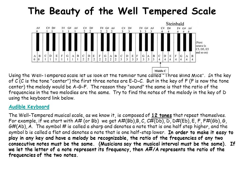 Before the well-tempered scale musicians used what is now called the Just Tempered Scale (sometimes called the Pythagorean scale).