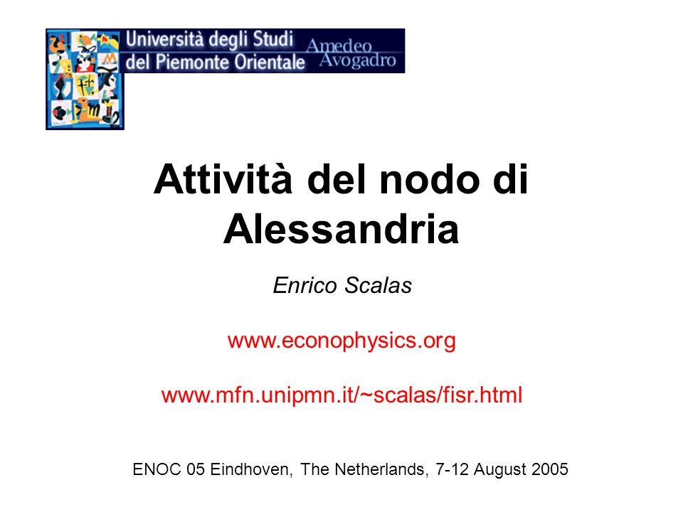 Attività del nodo di Alessandria Enrico Scalas www.econophysics.org www.mfn.unipmn.it/~scalas/fisr.html ENOC 05 Eindhoven, The Netherlands, 7-12 August 2005
