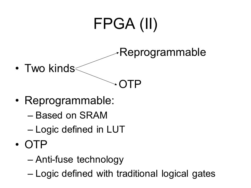 FPGA (II) Reprogrammable Two kinds OTP Reprogrammable: –Based on SRAM –Logic defined in LUT OTP –Anti-fuse technology –Logic defined with traditional logical gates