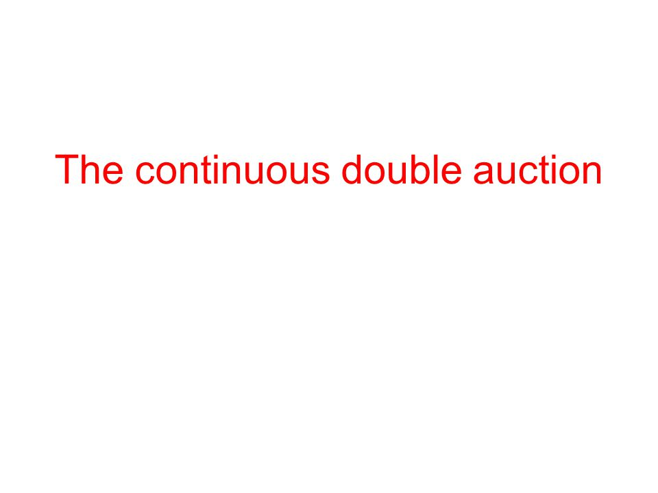 The continuous double auction