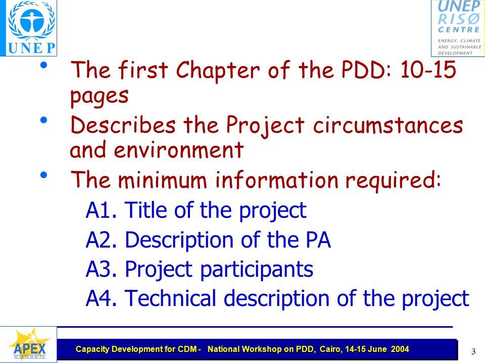 Capacity Development for CDM - National Workshop on PDD, Cairo, 14-15 June 2004 2