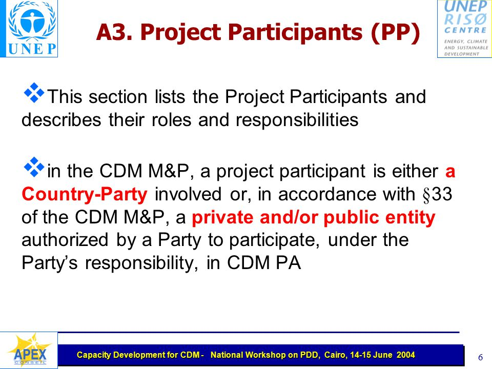 Capacity Development for CDM - National Workshop on PDD, Cairo, 14-15 June 2004 5 A2. Description of the project activity This section describes:  th