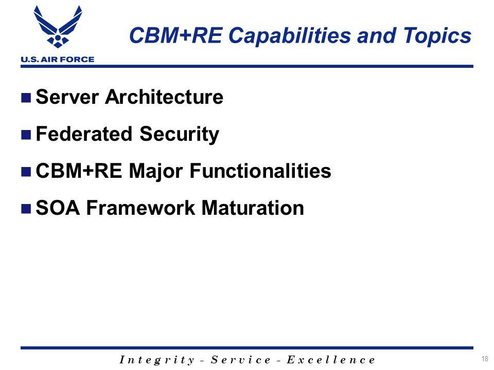 I n t e g r i t y - S e r v i c e - E x c e l l e n c e CBM+RE Capabilities and Topics Server Architecture Federated Security CBM+RE Major Functionali