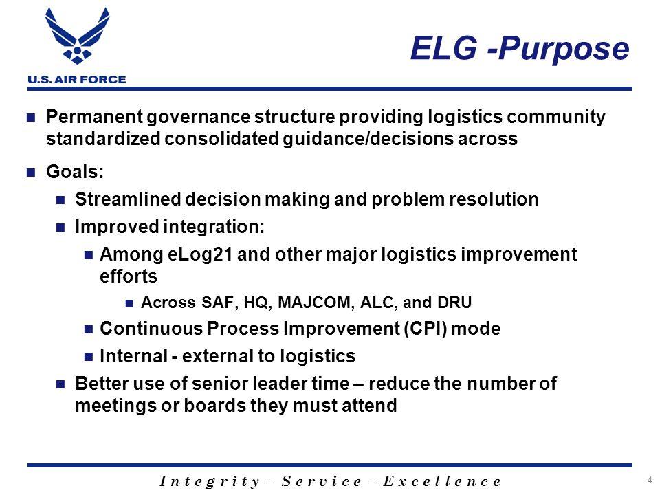 I n t e g r i t y - S e r v i c e - E x c e l l e n c e ELG -Purpose Permanent governance structure providing logistics community standardized consoli