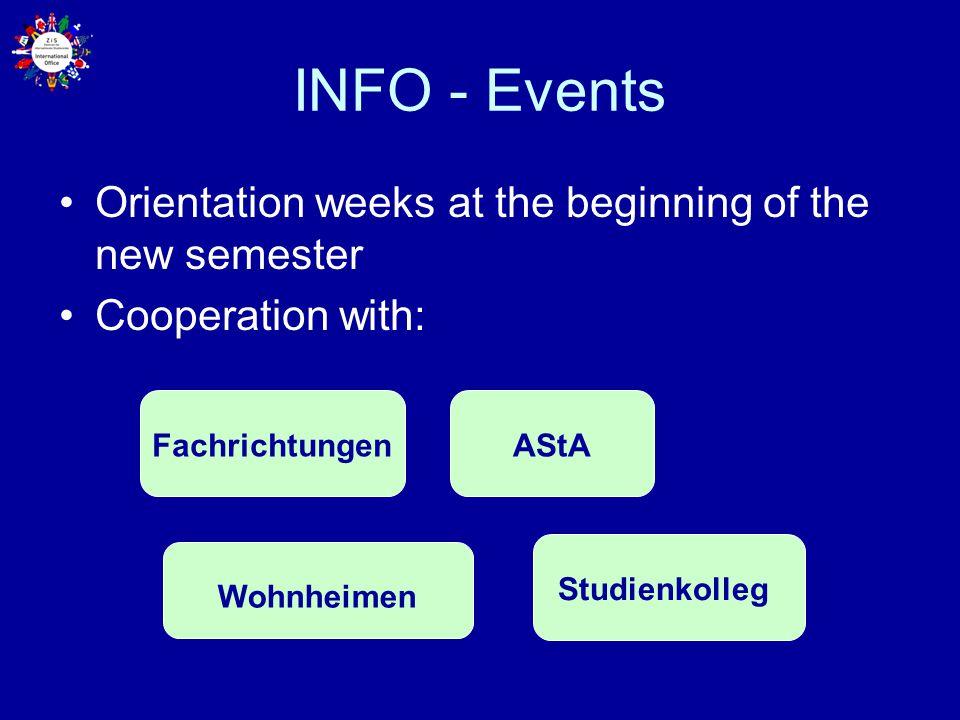 INFO - Events Orientation weeks at the beginning of the new semester Cooperation with: Studienkolleg AStA Wohnheimen Fachrichtungen