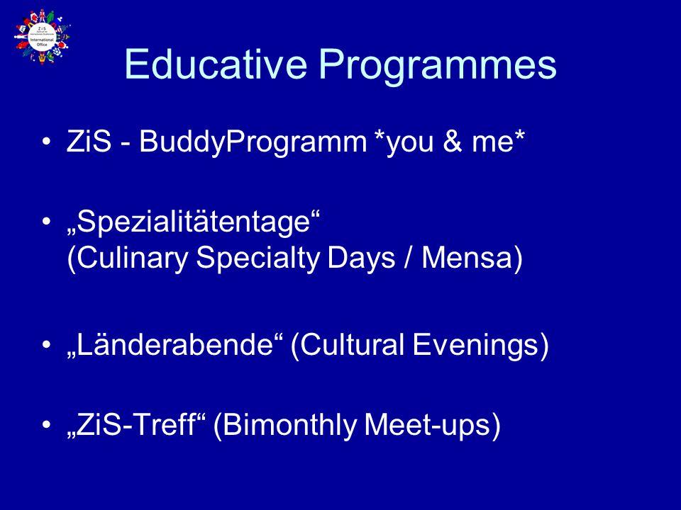 "Educative Programmes ZiS - BuddyProgramm *you & me* ""Spezialitätentage"" (Culinary Specialty Days / Mensa) ""Länderabende"" (Cultural Evenings) ""ZiS-Tref"