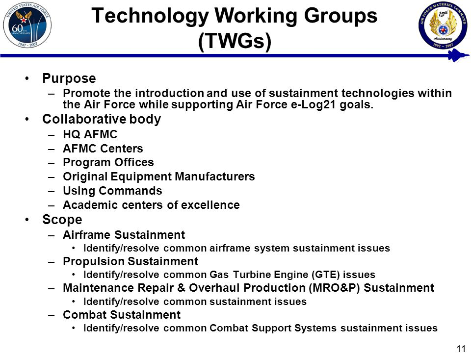 11 Technology Working Groups (TWGs) Purpose –Promote the introduction and use of sustainment technologies within the Air Force while supporting Air Force e-Log21 goals.